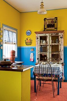 8 Crazy Ideas Can Change Your Life: Boho Kitchen Decor quirky kitchen decor interior design. Blue Kitchen Paint, Kitchen Paint Schemes, Yellow Kitchen Decor, Kitchen Colors, Gold Kitchen, Mexican Kitchen Decor, Kitchen Shelf Decor, Eclectic Kitchen, Rustic Kitchen Decor