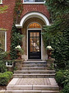 Boost your home's curb appeal when you give your front entry a makeover. These exterior decorating ideas will inspire you to start home improvement projects that will make your house and porch look better on the outside. Front Door Awning, Front Entry, Front Porch, Door Overhang, Front Door Entrance, Door Entry, Doorway, Black Front Doors, Front Door Colors