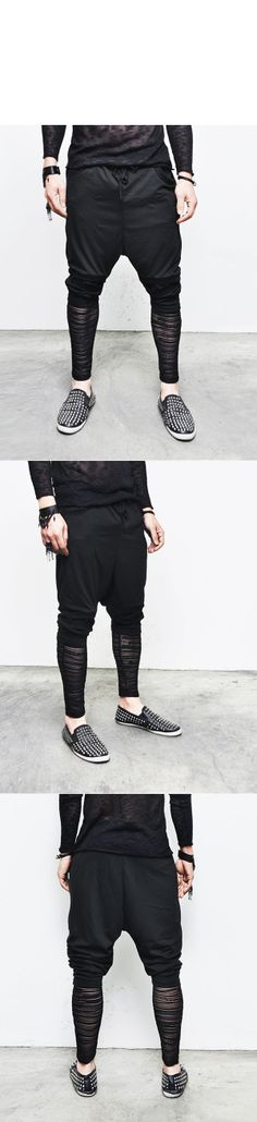 Bottoms :: Sweatpants :: Mesh Besom Knee & Calves Slim Baggy-Sweatpants 106 - Mens Fashion Clothing For An Attractive Guy Look