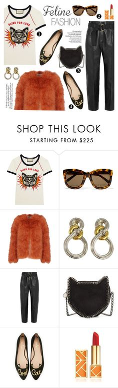 """Meow!"" by fashion-bite ❤ liked on Polyvore featuring Gucci, Linda Farrow, Valentino, Givenchy, Petar Petrov, STELLA McCARTNEY, Kate Spade, Nico, Tory Burch and felinefashion"
