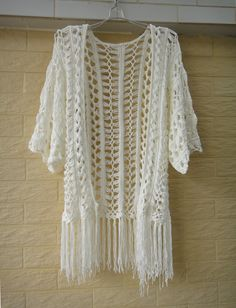 Fringe Crochet Cardigan Elbow Sleeve Kimono Cover Up - Click Image to Close