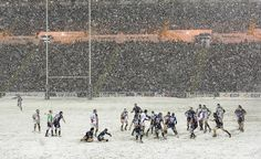 Just like our football games, rugby is also played in snow... just with less layers. This is one of the reasons why Rugby > NFL. #nowussies