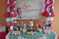 American Girl Themed Birthday Cake With Cupcakes