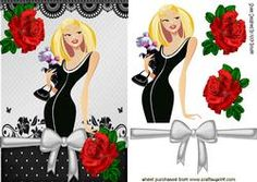 Pretty In Black, Lace And Red Roses With Bow