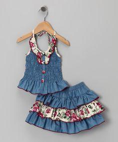 Take a look at this Cream Denim Floral Ruffle Halter Dress - Toddler & Girls…