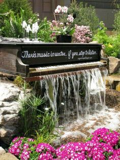 Old piano goin to waste.....this is a fabulous idea for waterfall in your pond