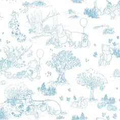 The gangs all here in the Hundred Acre Wood. There's Winnie the Pooh, Eeyore, Tigger and Piglet, too. This sweet Disney wallpaper has the look of toile fabric with tonal colors on a solid field. Use it along with Swinging Pooh Border or Ki Toile Wallpaper, Botanical Wallpaper, Kids Wallpaper, Disney Wallpaper, Nursery Wallpaper, Cloud Wallpaper, Wallpaper Ideas, Pattern Wallpaper, Winnie The Pooh Nursery