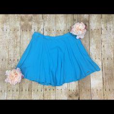 Blue circle skater skirt New, never worn lightweight flowy skirt - beautiful blue color Hollister Skirts Mini