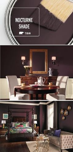It should come as no surprise that Nocturne Shade is the BEHR Paint Color of the Month for December. This holiday season, add a touch of vintage glamour to your home with the help of this dark purple hue. Jewel-toned, gold, and silver accent colors bring the rich shade to life, creating a bold and dramatic color palette. Find more inspiration by clicking here. Dark Purple Bathroom, Dark Purple Walls, Bedroom Colors Purple, Purple Living Rooms, Colors For Bathroom Walls, Dinning Room Paint Colors, Interior Wall Colors, Bedroom Wall Colors, Dark Purple Bedrooms