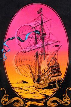 The Voyage vintage velvet blacklight poster 1972 Velva-Print by theposterposter on Etsy Psychedelic Effects, Psychedelic Fashion, Psychedelic Art, Poster Wall, Poster Prints, Art Posters, Blacklight Tapestry, Project Neon, Vintage Velvet