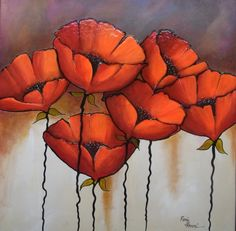 POPPIES IN BLOOM by Ronald Brown | TEXTURED, | Abstract Nature ...