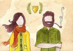 Fall Couple 5x7 Print on Etsy, $12.00