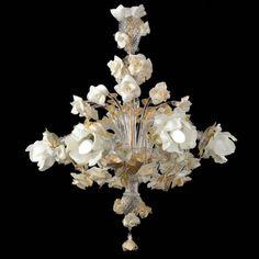 """Rose bianche"" Murano chandelier - 6 lights"