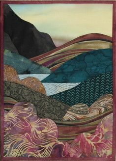 Jo Diggs Landscape by Hilary Gooding Quilting Projects, Quilting Designs, Art Quilting, Quilt Art, Applique Designs, Quilting Ideas, Landscape Art Quilts, Quilt Modernen, Fabric Postcards