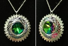 1 3/8 Wire Wrapped Spiro Pendant in Green Sphinx by ElleRae, $60.00