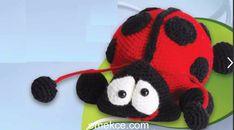 Amigurumi Örgü Oyuncak Uğur Böceği Modeli Yapılışı   Emekce.com Crochet Toys Patterns, Stuffed Toys Patterns, Knitting Patterns, Crochet Disney, Crochet Baby, Tweety, Amigurumi Doll, Free Pattern, Winter Hats