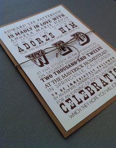 Rustic Western Wedding Invitations by Forloveandpaper on Etsy, $2.00