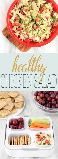 Healthy Chicken Salad.. all of the flavor, none of the mayo! Seasoned chicken, fresh herbs and a simple yogurt-based dressing. Paired with whole-grain crackers, fresh grapes and crispy veggie sticks. #ad #BalancedMealsMadeEasy @Rubbermaid via @Simply Sissom