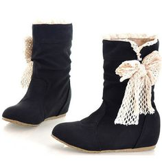 8e90d167251d Women Butterfly Knot Pu Leather Mid Calf Snow Boots is hot-sale. Come to  NewChic to buy womens boots online.