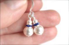 White pearl blue drop earrings Swarovski by izabellahansendesign