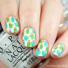 The Digital Dozen does Spring - Day 5: Cute Cacti Nail Design, Nail Art, Nail Salon, Irvine, Newport Beach