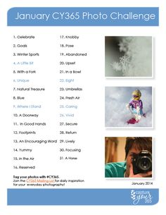 January 2014 Capture Your 365 Photo Challenge List. Are you in? #CY365