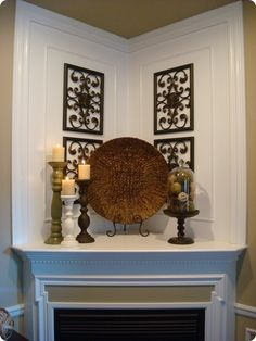Love this! I don't think I've ever seen a corner mantel like this before. Beautiful!