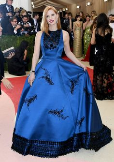 Pin for Later: See All the Stunning Met Gala Arrivals Everyone's Still Talking About Jessica Chastain Wearing Prada gown and Piaget jewels.