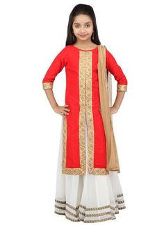 201368 Red and Maroon, White and Off White color family Kids Lehenga in Faux Georgette, Silk cotton fabric with Lace, Thread, Zari work . Indian Clothes For Kids, Kids Indian Wear, Indian Ethnic Wear, Kids Lehenga Choli, Silk Lehenga, Indian Dresses, Indian Outfits, Kids Salwar Kameez, Gharara Pants