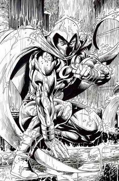 Moon Knight commission by gammaknight on DeviantArt Marvel Comics Art, Marvel Comic Books, Comic Books Art, Comic Art, Knight Drawing, Knight Art, Marvel Comic Character, Marvel Characters, Book Characters