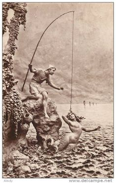 """"""" Gravure — La Sirene """" Engraving of a sculptural work in the Beaux-Arts style presented at the Salon De 1875"""