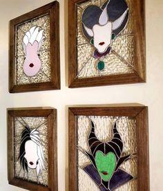 "villainous stained glass collection in @denhamdisneylife's home. This #DisneyDIY was…"""