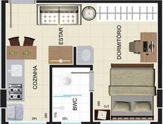 Top 30 Plantas de Kitnet Pequenas Grátis - Veja de 1 e 2 Quartos – PORTAL REI Loft Design, Diy Design, House Design, Small Space Living, Small Spaces, Living Spaces, Organiser Photos, Lofts, Framing Construction