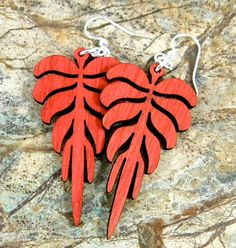 Leaf Geometric  laser cut earrings  by GreenTreeJewelry