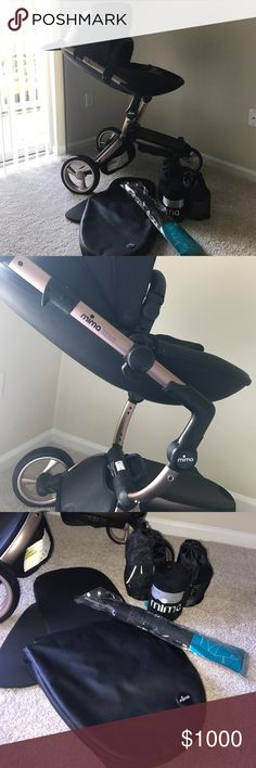 MIMA Xari rose gold and black stroller Gorgeous stroller converts from a bassinet to a push chair. Limited edition color. Includes mosquito net, rain cover, mima blanket and optional umbrella. Only used it 4 times, the only signs of slight wear are in the wheels. I live in Maryland, will be moving to Arizona in a couple weeks, you can do locale pick up to either places or I can ship at buyers expense. Mima Other