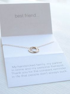 Best Friend Necklace by Olive Yew. Beautiful interlocking hammered circles show the bond you have with your BFF. The fun and lighthearted card show your wicked sense of humor. Necklace and charm are available in silver, gold or rose gold. Bff Gifts, Best Friend Gifts, Cute Gifts, Gifts For Friends, My Best Friend, Best Friends, Great Gifts, Funny Gifts, Best Friend Necklaces