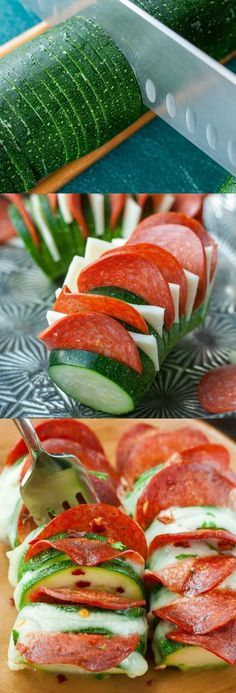 Skip the crust and grab a zucchini! These Cheesy Hasselback Zucchini Pizzas are guaranteed to impress and SO easy to make! Low Carb Recipes, Diet Recipes, Cooking Recipes, Healthy Recipes, Delicious Recipes, Ketogenic Recipes, Salad Recipes, Ketogenic Diet, Snacks