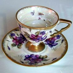 Purple tea cup and Saucer  from royal sealy