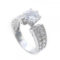 Sterling Silver Micro Pave Round Engagement Ring SAAR0081