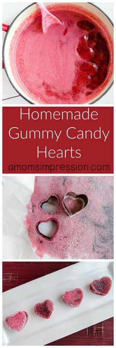 Homemade Gummy Candy - Heart Shaped Valentine's Day Treats - Valentine's Day - Healt and fitness Sweets Recipes, Candy Recipes, Holiday Recipes, Christmas Recipes, Valentines Day Desserts, Valentine Treats, Valentine Desserts, Kids Valentines, Yummy Treats