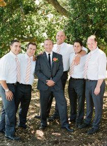 Love this picture with the groom in his tux & groomsmen in just shirts & ties