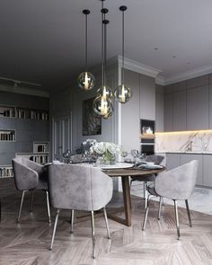 36 Chic Dining Room Design Ideas That Looks So Cute Dining Room Lamps, Modern Dining Room Tables, Elegant Dining Room, Luxury Dining Room, Dining Room Lighting, Dining Room Design, Dining Room Furniture, Wall Lamps, Arrange Furniture