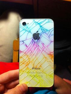 Cracked white iPhone? Colour it with highlighters and cover with a sheet of screen protector or clear contact paper.