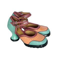 Raspberry Heels: Fluevog | Minis | Qtee [Peach+Aqua+Berry] Crazy Shoes, Minis, Raspberry, Berries, Aqua, Strength, Peach, Flats, Heels
