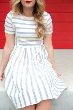 THE CELEBRATION STRIPED DRESS IN BLUE
