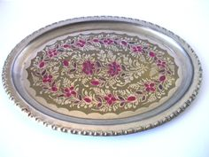 Metal Vintage Tray Brass Handpainted Flowers by PortugueseWonders, $25.00  #tray #metal #brass #silver #tone #vintage #pink #handpainted #table #serving #flowers #home #decor #homedecor #vintagehome #housewares