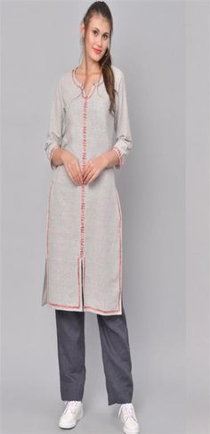 Women Grey & Red Embroidered Straight Cotton Kurtis at Affordable Price - Zakarto Cotton Kurtis Online, Designer Kurtis Online, A Line Kurta, Neck Pattern, Cotton Style, Grey Fabric, Silk Sarees, Pink Color, Party Wear