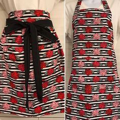 apron half or full style / red and pink roses / black and white striped apron / red black white theme / garden party