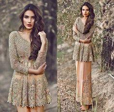 Latest Pakistani Short Frocks Peplum Tops with Cullotes Pakistani Formal Dresses, Pakistani Wedding Outfits, Pakistani Dress Design, Indian Dresses, Indian Outfits, Indian Attire, Indian Wear, Pakistani Couture, Pakistani Bridal