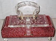 Lucite Purses for Sale | Lovely Red Glitter Lucite Purse. | Vintage Purses